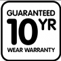 guaranteed 10 year wear warranty